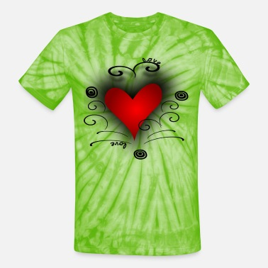 Direct Red Heart Swirls Circles, DIGITAL DIRECT PRINT - Unisex Tie Dye T-Shirt