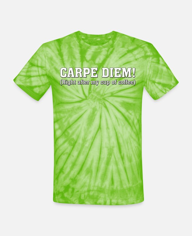 Java T-Shirts - Carpe Diem Coffee - Unisex Tie Dye T-Shirt spider lime green