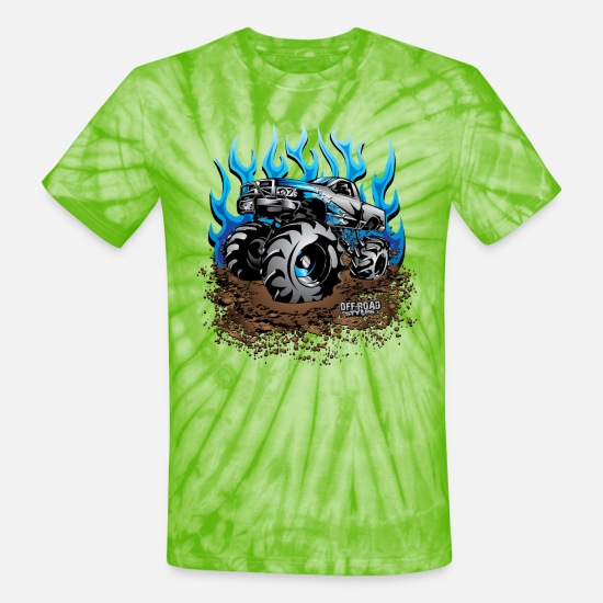 Mud T-Shirts - Mud Truck Blue Flame - Unisex Tie Dye T-Shirt spider lime green