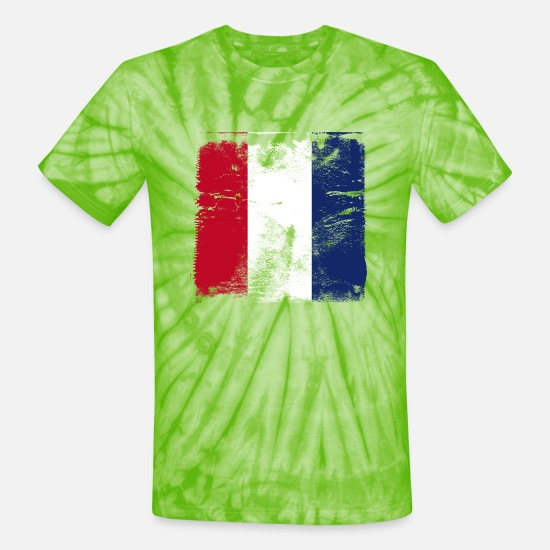 Flag T-Shirts - Used French Flag - Unisex Tie Dye T-Shirt spider lime green