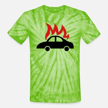 Burning car icon - Unisex Tie Dye T-Shirt