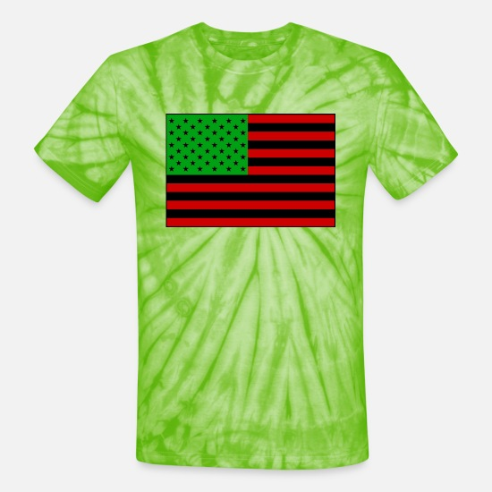 Red T-Shirts - United States of Africa - Unisex Tie Dye T-Shirt spider lime green