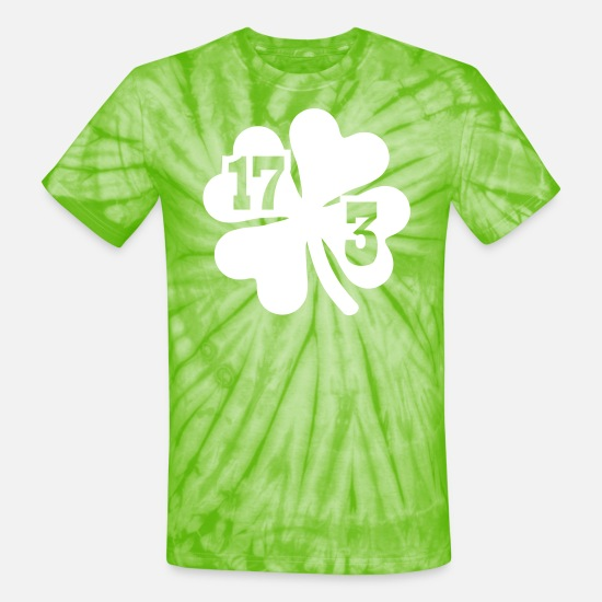 Alcohol T-Shirts - Shamrock St. Patrick's day - Unisex Tie Dye T-Shirt spider lime green