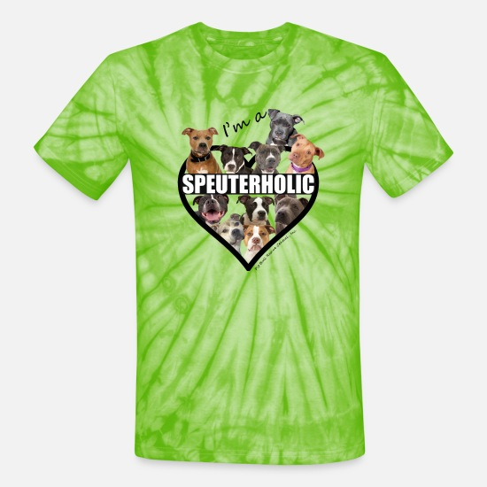 Dog T-Shirts - Speuterholic - Unisex Tie Dye T-Shirt spider lime green