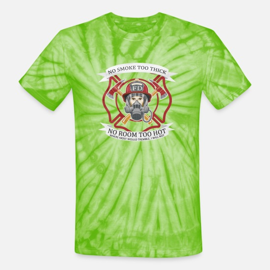Fire Fighter T-Shirts - THE FIREFIGHTERS OATH - Unisex Tie Dye T-Shirt spider lime green