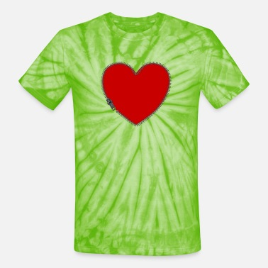 Red Hearts RED HEART w ZIPPER - Unisex Tie Dye T-Shirt