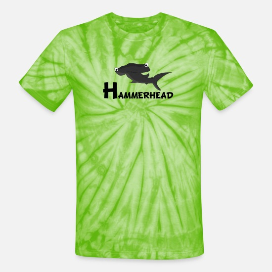 Shark T-Shirts - Cartoon Hammerhead Shark - Unisex Tie Dye T-Shirt spider lime green