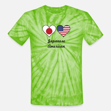 Japanese American Japanese American Flag Hearts - Unisex Tie Dye T-Shirt