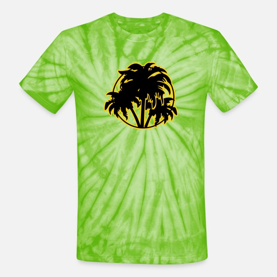 Palm Trees T-Shirts - Palm trees - Unisex Tie Dye T-Shirt spider lime green