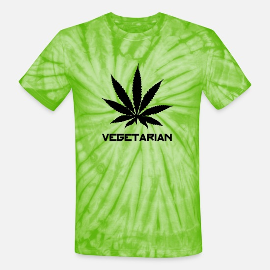 Weed T-Shirts - cannabis dope vegetarian - Unisex Tie Dye T-Shirt spider lime green