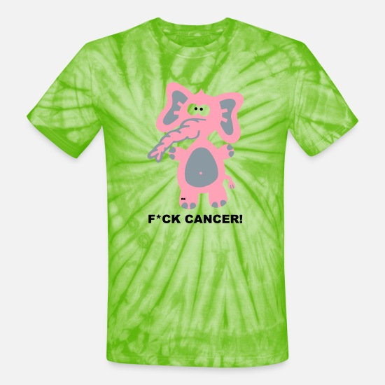 Cancer T-Shirts - Fight Fuck Cancer Breast Comic Elephant Fun - Unisex Tie Dye T-Shirt spider lime green