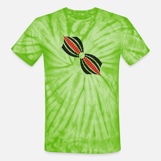 Formal T-Shirts - circle hole leaves abstract beams music shape patt - Unisex Tie Dye T-Shirt spider lime green
