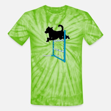 Jumps Agility Jump with Dog - Unisex Tie Dye T-Shirt