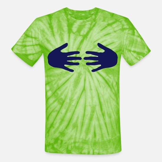 Sexy T-Shirts - hands tits boobs sex - Unisex Tie Dye T-Shirt spider lime green