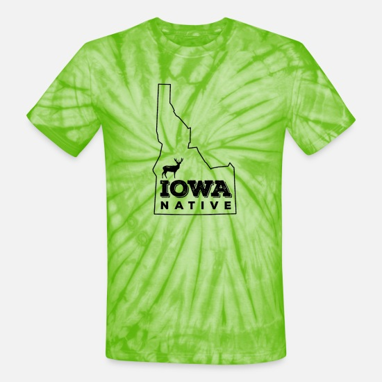 Iowa T-Shirts - Idaho Native- Elk (black) - Unisex Tie Dye T-Shirt spider lime green