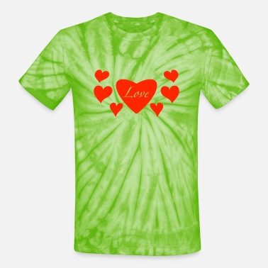 A Lot Of a lot of hearts - Unisex Tie Dye T-Shirt