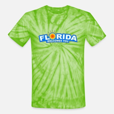 State Border Welcome to Florida sign - Unisex Tie Dye T-Shirt