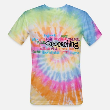 Collage Geocaching Word Collage - Unisex Tie Dye T-Shirt