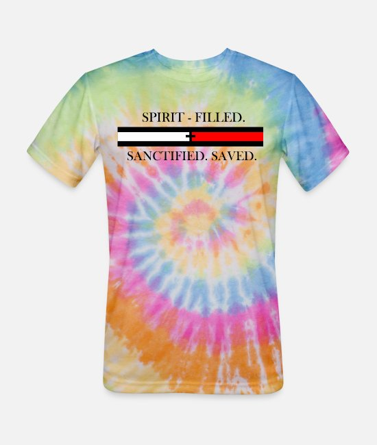 Bowling T-Shirts - spirit filled sanctified saved - Unisex Tie Dye T-Shirt rainbow