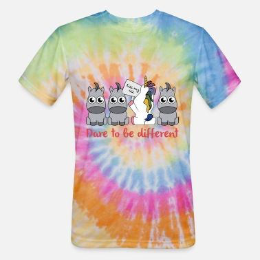 Dare dare to be different unicorn - Unisex Tie Dye T-Shirt