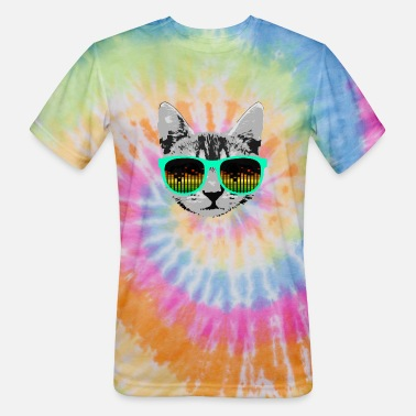 Music Cat with Glasses - Unisex Tie Dye T-Shirt