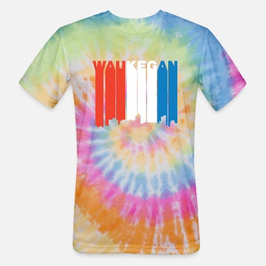 Red White And Blue Red White And Blue Waukegan Illinois Skyline - Unisex Tie Dye T-Shirt