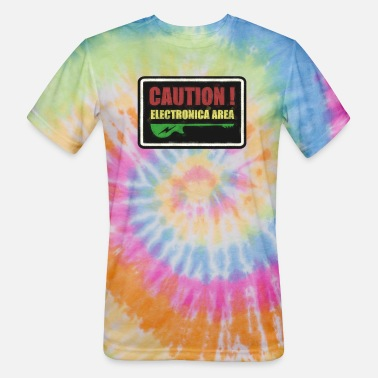 Electronica ‏‏Caution Electronica - Unisex Tie Dye T-Shirt