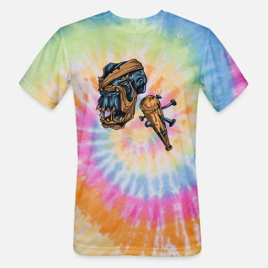 Zombie Monster Weapon Scary Design Painting draw - Unisex Tie Dye T-Shirt