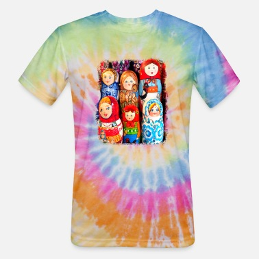 Doll Matrioska / Matryoshka dolls - Unisex Tie Dye T-Shirt
