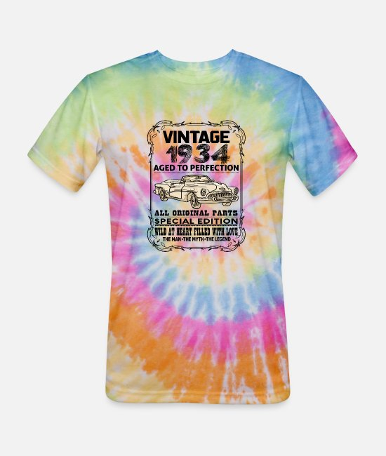 1934 T-Shirts - VINTAGE 1934-AGED TO PERFECTION - Unisex Tie Dye T-Shirt rainbow