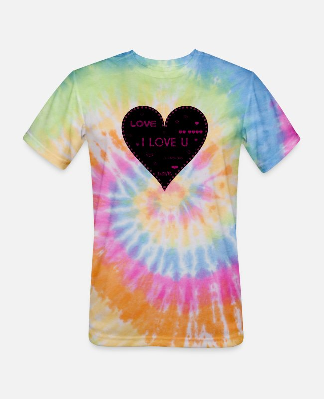 Heart T-Shirts - LOVE HEART - Unisex Tie Dye T-Shirt rainbow