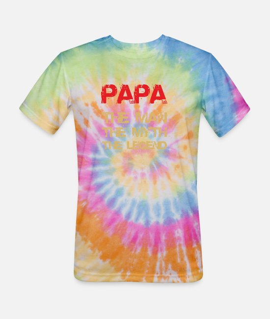 Legend T-Shirts - Papa - The Man, The Myth, The Legend - Unisex Tie Dye T-Shirt rainbow