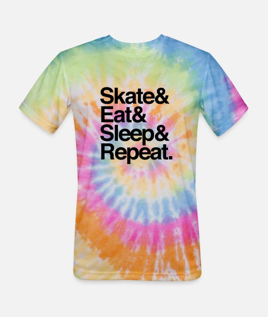 Sleep T-Shirts - Skate. Eat. Sleep Repeat - Unisex Tie Dye T-Shirt rainbow