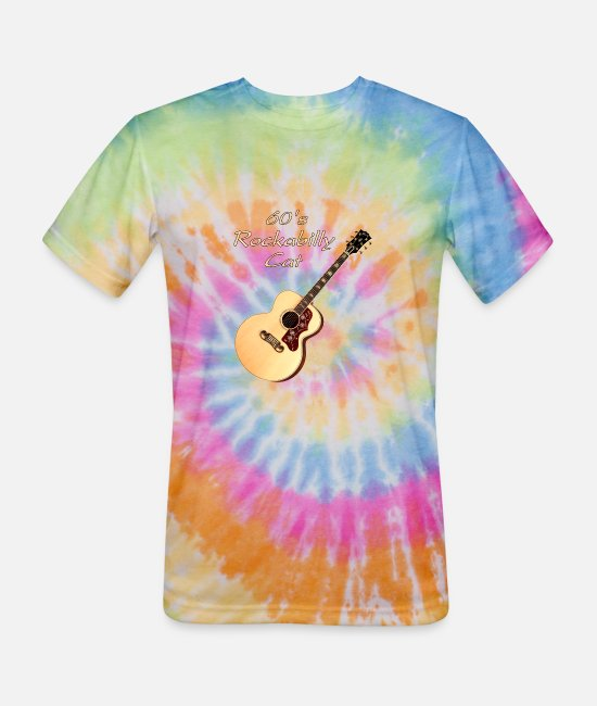 Guitar T-Shirts - 60's Rockabilly Cat - Unisex Tie Dye T-Shirt rainbow
