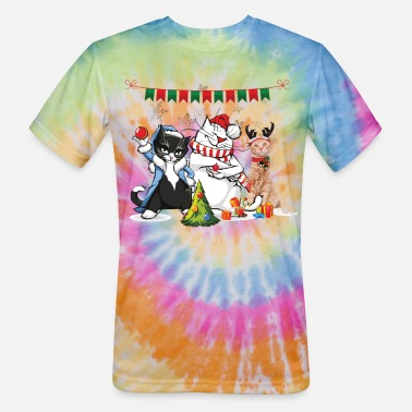 Cats Merry Christmas cat - Unisex Tie Dye T-Shirt