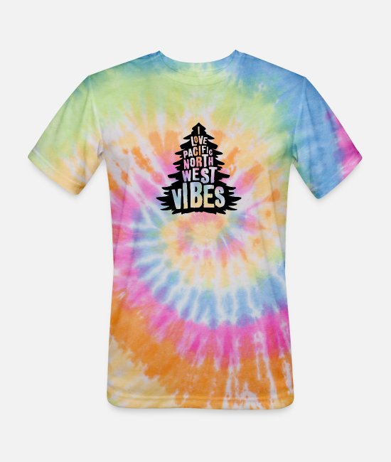 Pop Art T-Shirts - Pac Northwest Vibes - Unisex Tie Dye T-Shirt rainbow