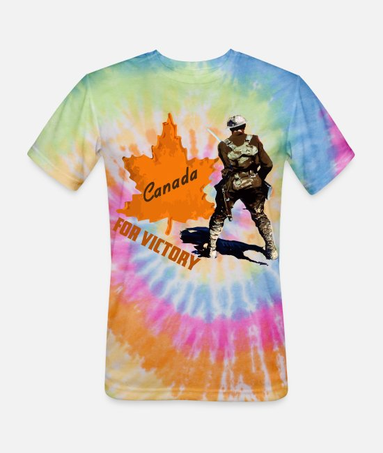 WW1 T-Shirts - Canada For Victory WW1 Soldier - Unisex Tie Dye T-Shirt rainbow