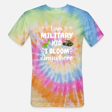 Child I am Military Kid I bloom Anywhere Purple up - Unisex Tie Dye T-Shirt