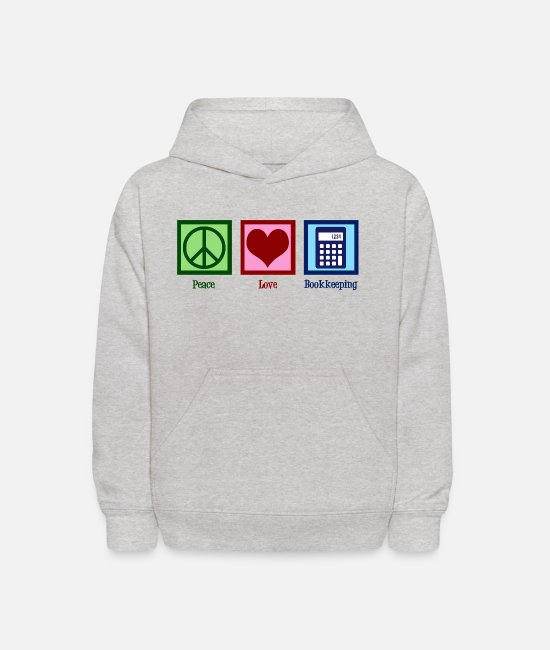 Bookkeeping Hoodies & Sweatshirts - Peace Love Bookkeeping - Kids' Hoodie heather gray