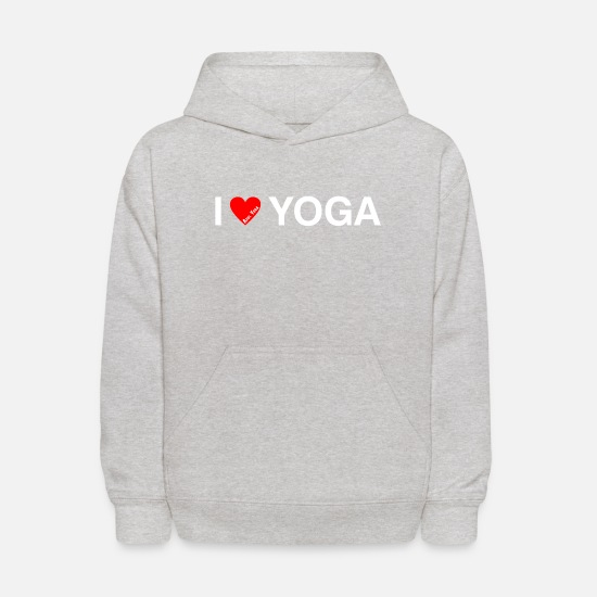 Kids Hoodies & Sweatshirts - I LOVE YOGA WH - Kids' Hoodie heather gray