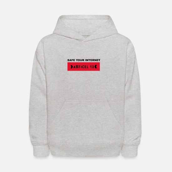 Transparent Hoodies & Sweatshirts - Article 13 safe your internet - Kids' Hoodie heather gray