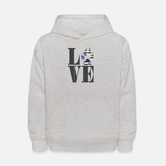 Rescue Dog Hoodies & Sweatshirts - Love Police Dog | Flag Paw K9 detection dog - Kids' Hoodie heather gray