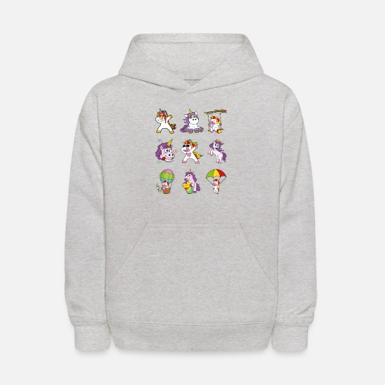 Softball Hoodies & Sweatshirts - Dabbing Dab Unicorns Fairy Tale Story Fable - Kids' Hoodie heather gray