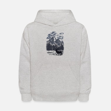 Mountain forest with elk (Blue) - Kids' Hoodie