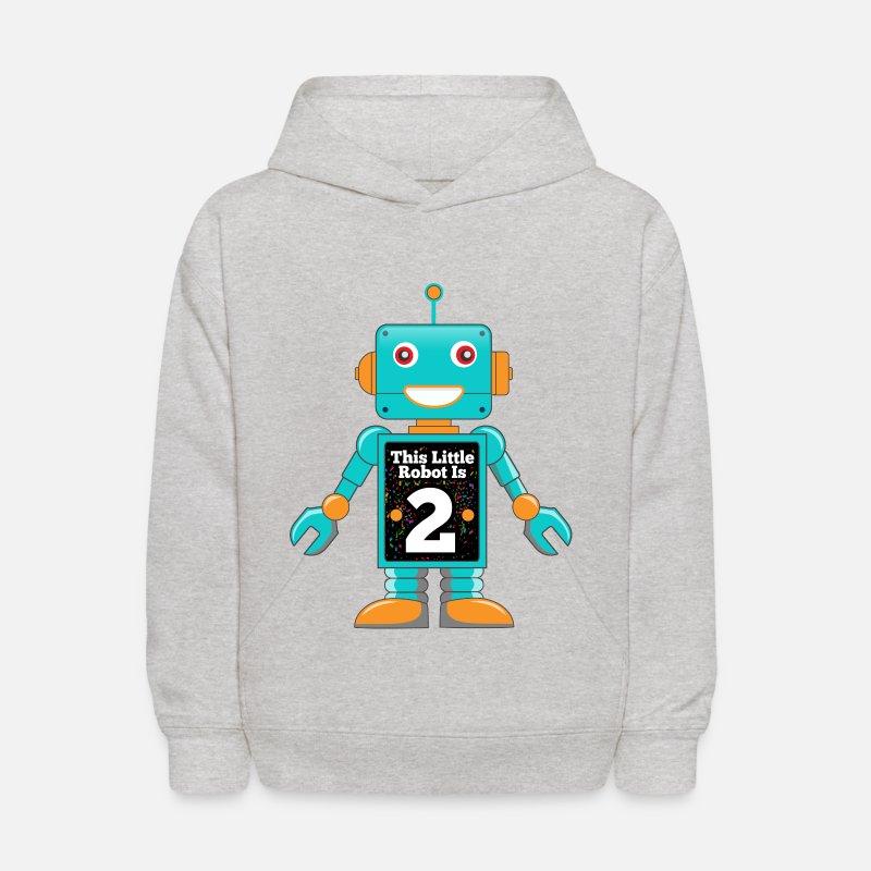 2nd Birthday Robot Party Shirt Kids Hoodie