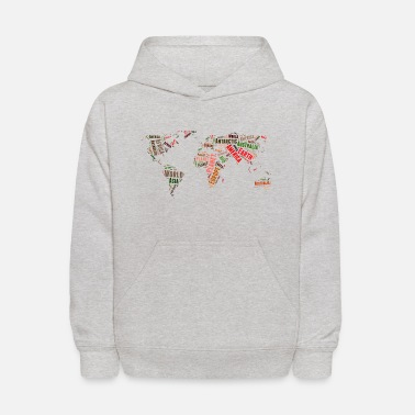 World World map words cloud - Kids' Hoodie