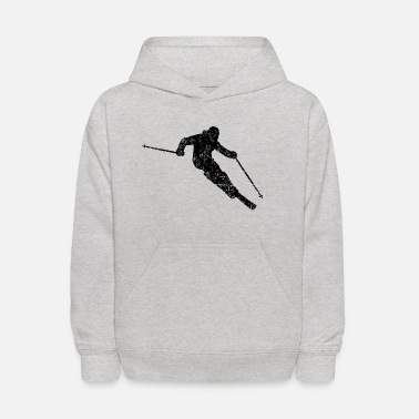 Skiing Skier Skiing 04 (Distressed Black) - Kids' Hoodie