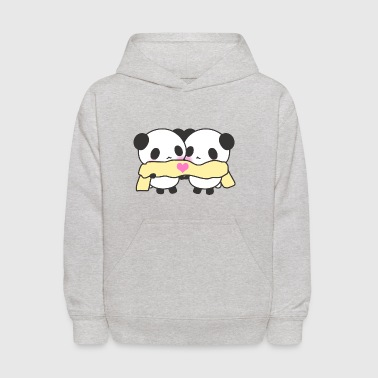 Cute Kawaii Pandas Scarf Heart Love - Kids' Hoodie
