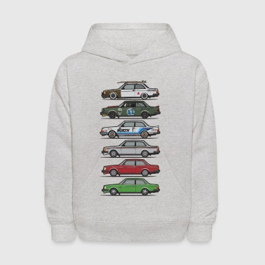 Stack of Volvo 240 Series 242 Brick Coupes - Kids' Hoodie