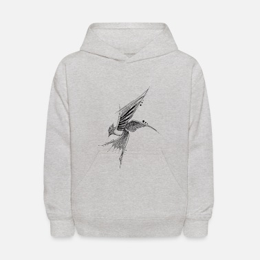Bird fly hand drawing sketch nature image shape - Kids' Hoodie